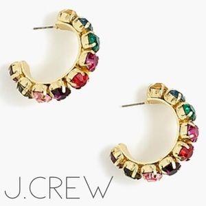 NWT J. Crew large multi stone gold hoop earrings